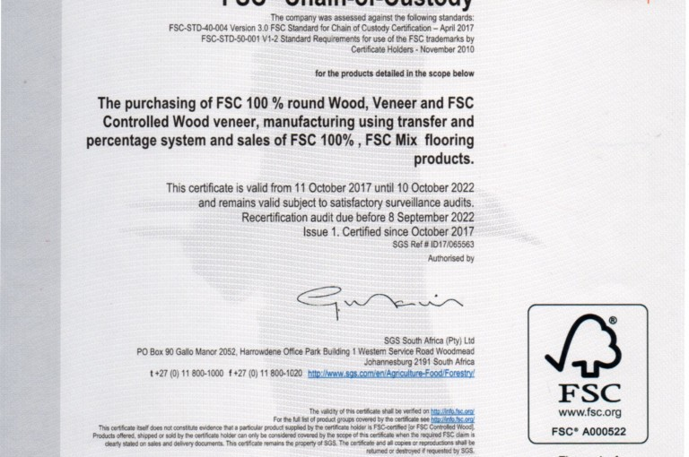 FSC Chain-Of-Custody Certificate